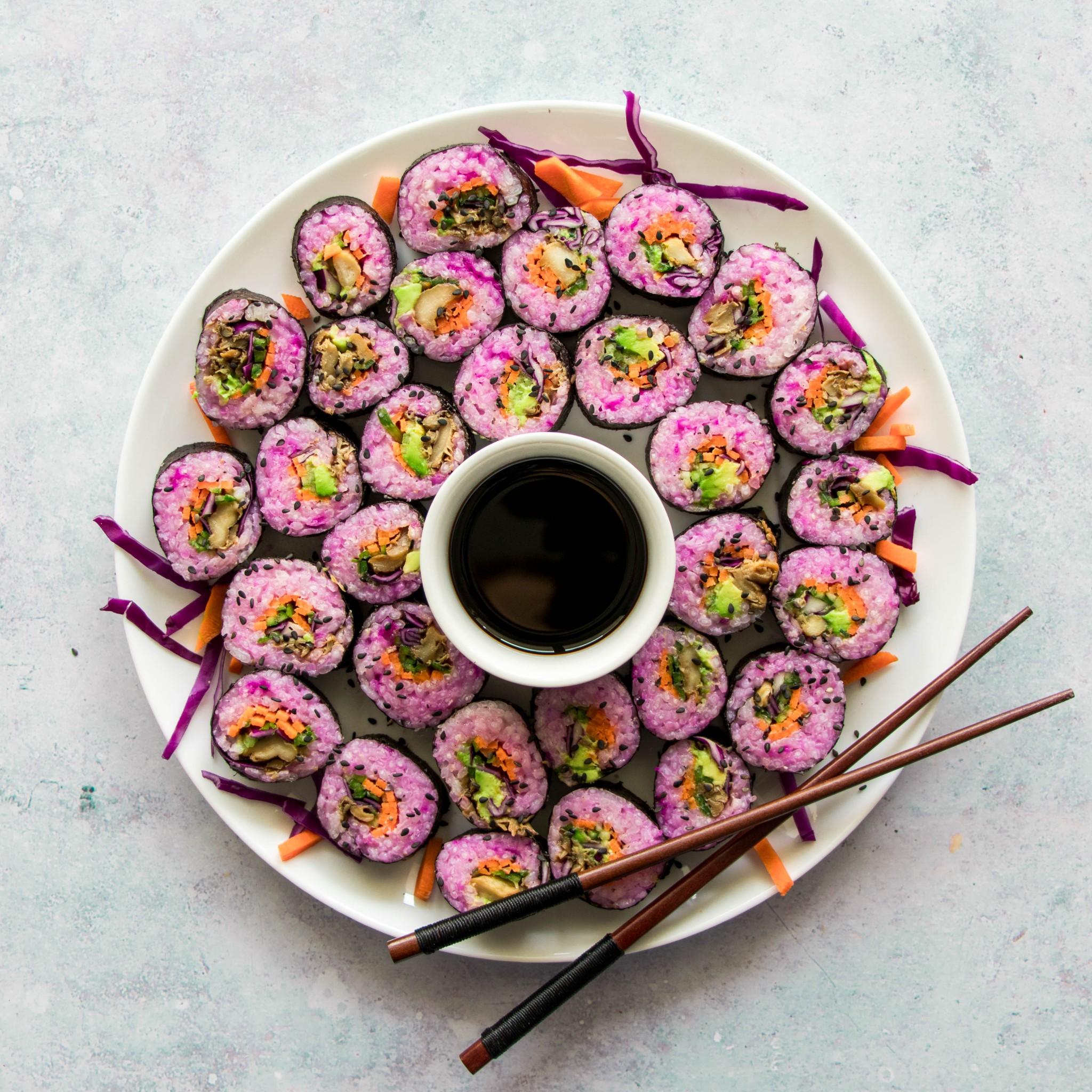 Pink Oyster Mushroom Maki Rolls